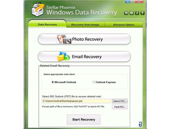 Understøtter Microsoft Outlook og Outlook Express .pst filer